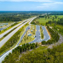 Aerial view of Clybucca Rest Area on Pacific Highway, Collombatti in New South Wales, Australia