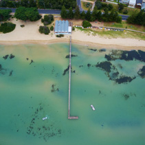 Aerial view of Sorrento Long Pier and The Baths Restaurant. Mornington Peninsula, Melbourne, Australia