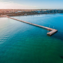 Aerial view of Frankston Pier at sunset, Victoria, Australia