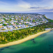 Aerial panorama of Black Rock suburb and pier at sunset. Melbourne, Australia