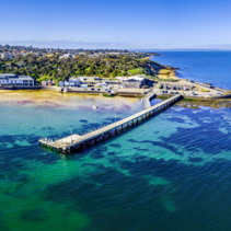 Black Rock Wharf and The Cerberus Beach house - aerial panorama