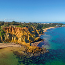 Aerial view of the Red Bluff lookout in Melbourne, Australia
