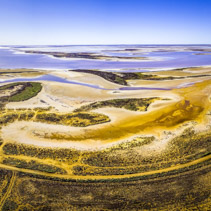 Aerial panorama of pink salt lake Tyrrell in Victoria, Australia