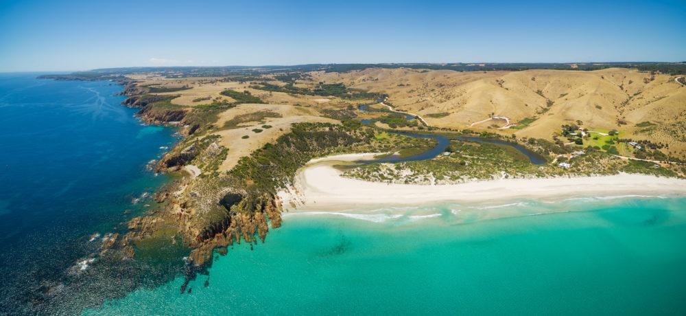 Kangaroo Island North Coast and Middle River Aerial panorama. Sn