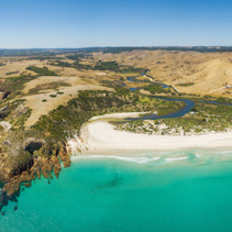 Kangaroo Island North Coast and Middle River Aerial panorama. Sn