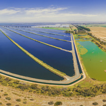 Beautiful aerial panorama of Western Treatment Plant and plowed fields at Cocoroc, Victoria, Australia