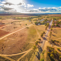 Road passing through Carrieton - small township and fields in South Australia- aerial landscape