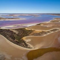 Aerial landscape of shallow pink salt lake Tyrrell in Victoria, Australia