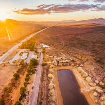 Sunset over Flinders Ranges in South Australia - aerial view
