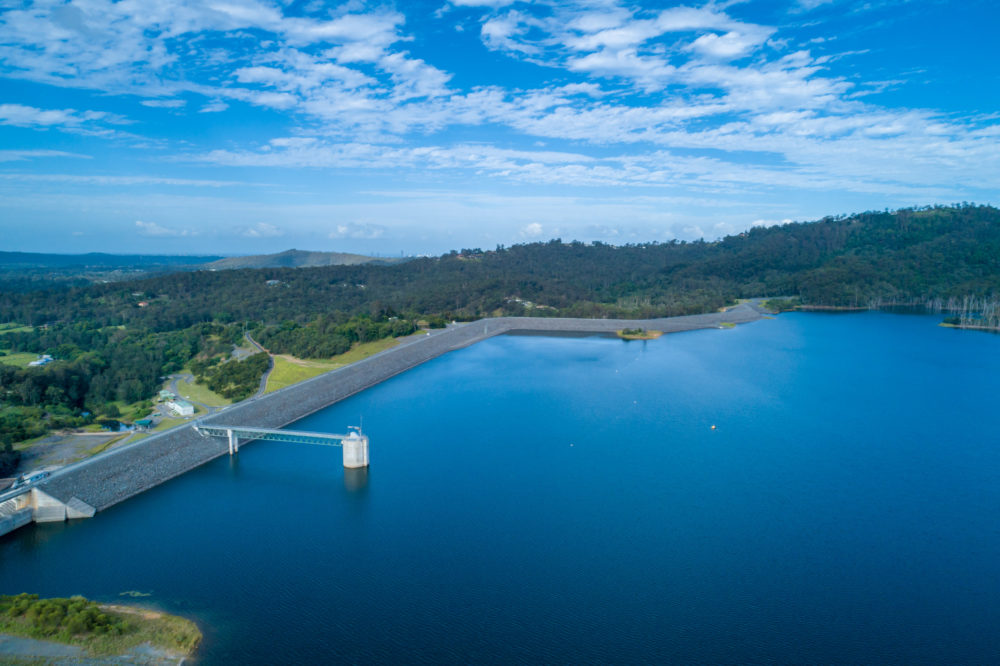 Aerial view of Hinze Dam. Advancetown, Queensland, Australia