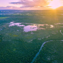 Aerial view of sun setting over horizon above mangroves and river. Melbourne, Australia