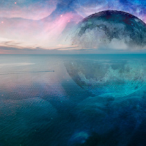Fantasy unreal seascape - small fishing boat sailing across calm sea with huge alien planet and galaxy in the sky reflecting in the water. Elements of this image are furnished by NASA