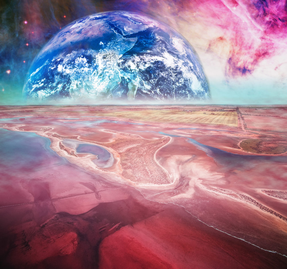 Fantasy landscape on alien planet. Elements of this image are furnished by NASA