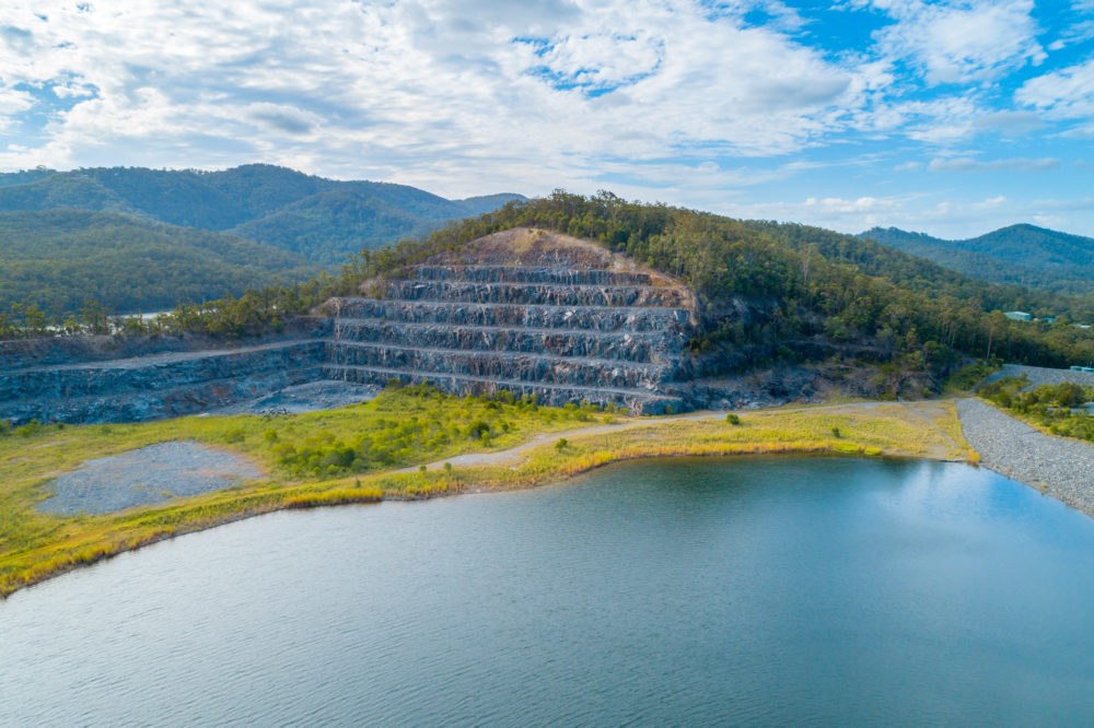 Aerial view of Hinze Dam section. Advancetown, Queensland, Australia