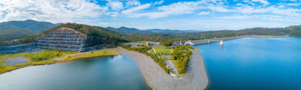 Aerial panorama of Hinze Dam and View Cafe. Advancetown, Queensland, Australia