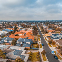 Aerial panorama of suburbian houses in Carrum, Melbourne suburb