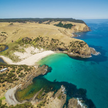 Snelling beach and middle river aerial view. Turquoise ocean water at Kangaroo Island, South Australia