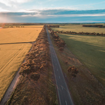 Aerial view of rural road passing through agricultural land in Australian countryside at sunsetAerial view of rural road passing through agricultural land in Australian countryside at sunset