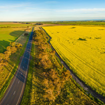 Aerial panorama of rural road passing through agricultural land and canola fields in Australian countryside at sunset