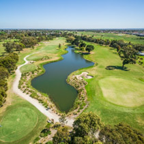 Aerial view of Patterson River Golf Club on a bright sunny day. Melbourne, Australia.