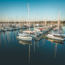 Closeup view of moored sailboats at marina in Melbourne, Victori