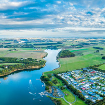 Hopkins River holiday park and beautiful countryside - aerial panoramic landscape