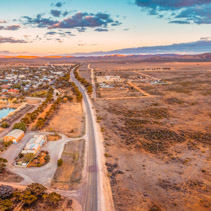 Aerial panorama of Hawker at sunset - small town in South Australia near Flinders Ranges