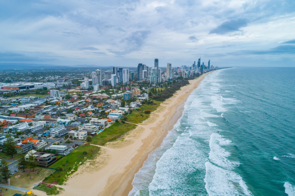 Aerial Landscape of Mermaid beach and Gold Coast city skyline. Gold Coast, Queensland, Australia