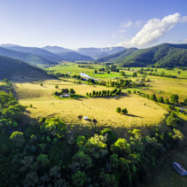 Aerial landscape of Australian countryside at sunset. Mitta Mitta Valley, Victoria, Australia