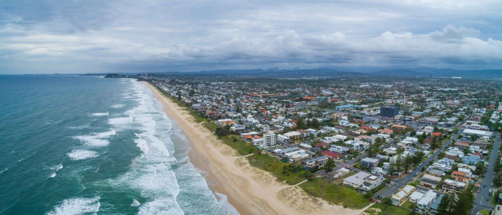 Aerial panorama of Gold Coast ocean coastline. Mermaid Beach, Queensland, Australia