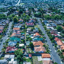 Aerial view - looking down at houses in suburb in Melbourne, Australia