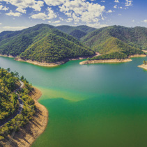 Aerial panorama of Lake Burrinjuck on bright summer day. New South Wales, Australia.