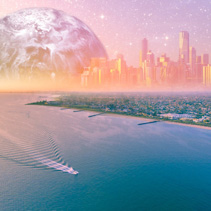 Fantasy aerial landscape - boat sailing near ocean coastline with modern city skyline and huge alien planet on the horizon at sunset. Elements of this image are furnished by NASA