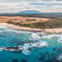 Aerial panorama of beautiful rugged coastline at Narooma, New South Wales, Australia