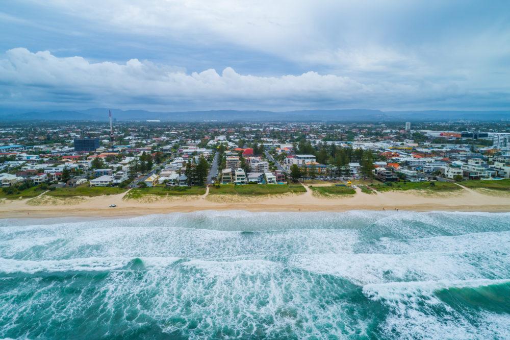 Aerial view of Mermaid Beach suburb. Gold Coast, Queensland, Australia