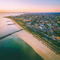 Aerial view of Port Phillip Bay and Melbourne coastline suburban
