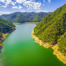 Aerial landscape of beautiful mountain lake on bright day in Australia