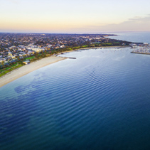 Aerial panorama of beautiful coastline at dusk. Melbourne, Victoria, Australia