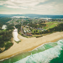Aerial view of town of Narooma, NSW, Australia