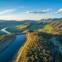 Scenic hills and river in beautiful Australian countryside at sunset