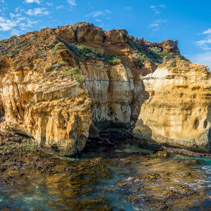 Eroding rocks on ocean coastline on Great Ocean Road, Victoria, Australia