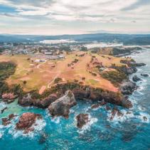 Aerial view of Narooma ocean coastline, NSW, Australia