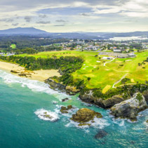 Aerial panoramic view of ocean coastline near Narooma, NSW, Australia