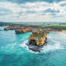Coastal aerial landscape in Victoria, Australia