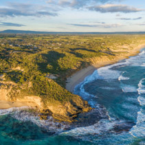 Aerial panorama of beautiful ocean coastline in Melbourne, Australia