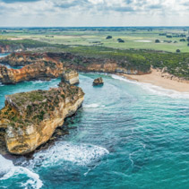 Aerial panoramic landscape of Great Ocean Road coastline in Victoria, Australia