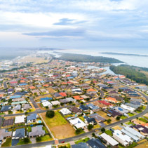 Aerial landscape of Harrington township at dusk. New South Wales, Australia