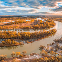 Beautiful bend of Murray River at sunset. Riverland, South Australia