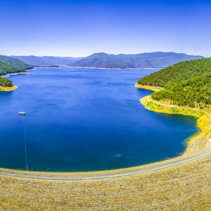 Aerial panorama of Dartmouth dam - the highest dam in Australia