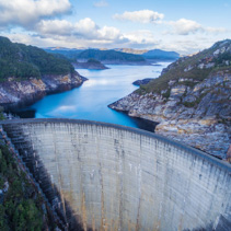 Aerial view of Gordon Dam and lake. Southwest, Tasmania, Australia